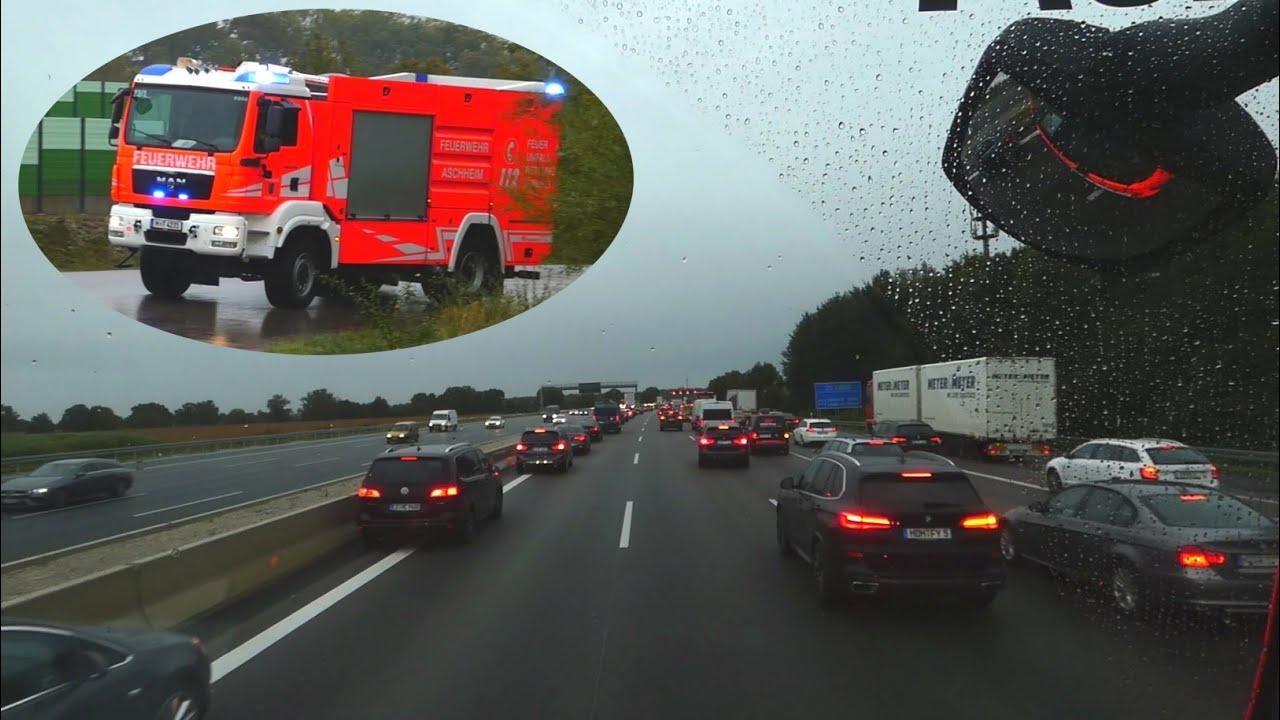 [INSIDE VIEW] Einsatzfahrt des TLF 20/40-SL der Freiwilligen Feuerwehr Aschheim auf die Autobahn