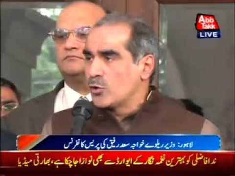 Railway Minister Khawaja Saad Rafiq talks to  media