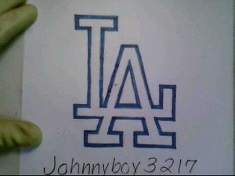 How To Draw Los Angeles Logo Sign Symbol Emblem Mlb Baseball Easy