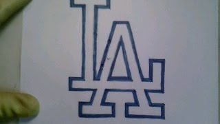 How To Draw Los Angeles Logo Sign Symbol Emblem MLB Baseball Easy Step By Step Tutorial