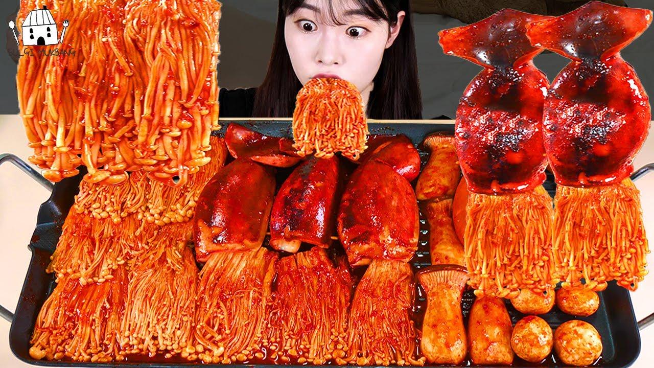 ASMR MUKBANG| 직접 만든 불닭 버섯 오징어 소세지 먹방 & 레시피 FIRE MUSHROOM EATING