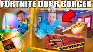 REAL LIFE FORTNITE FOOD! Durr Burger BOX FORT (FOOD CHALLENGE)