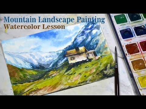 How to Paint a COTTAGE on MOUNTAINS: Watercolor Landscape Painting