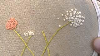 الغرز المعقودة: غرزة العقدة الفرنسية French knot الركوكو Bullion knot Rococo #غرزتي