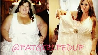 Trying on my wedding dress after 268lb weight loss