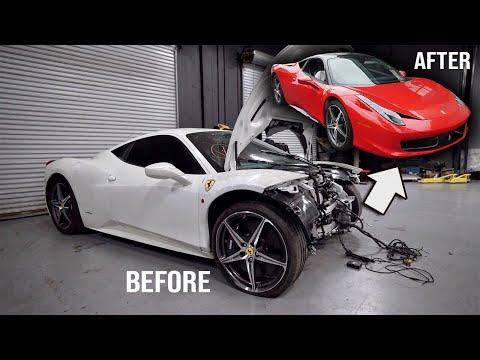 Rebuilding a Wrecked Ferrari 458 in 10 Minutes!