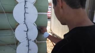 видео Нанесение антисептика на брёвна в процессе монтажа сруба