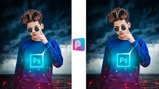 neon icon glowing picsart effect