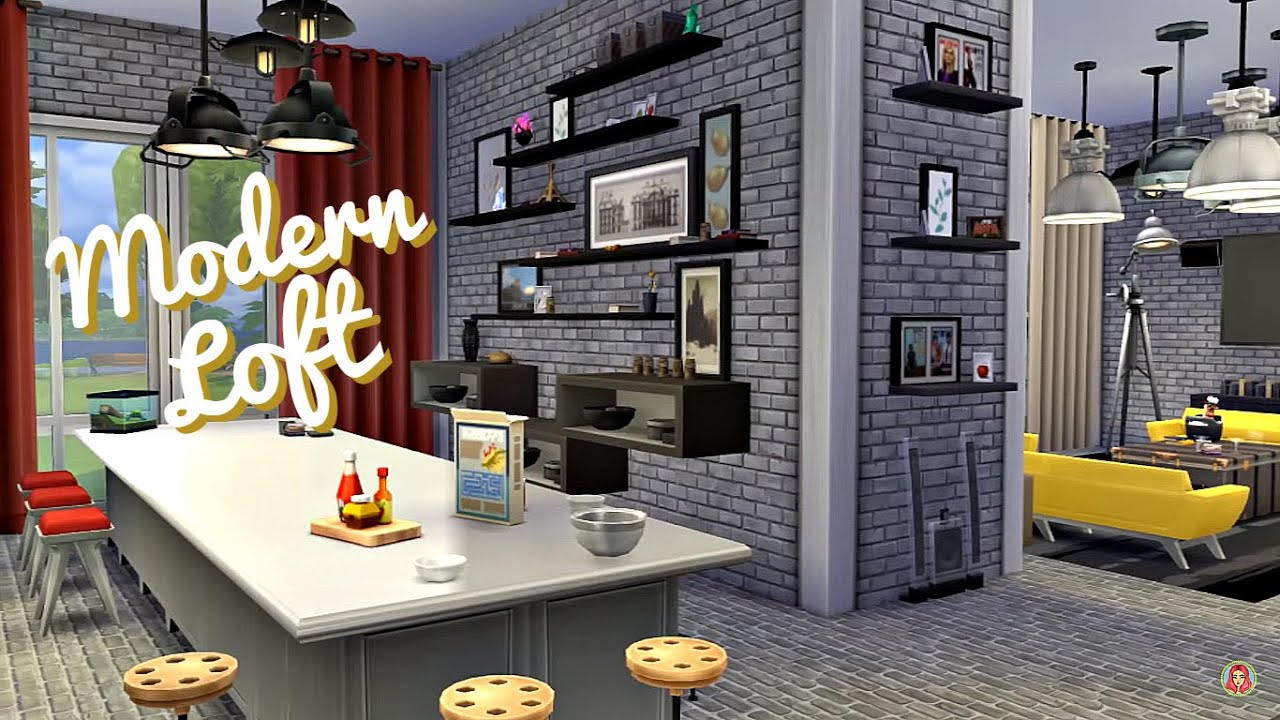 Sims 4 | Room Build: Modern Loft (One Room Apartment) - YouTube