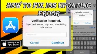 Fix Verification Required App Store Updating Error on iPhone, iPad and iPod iOS | Without jailbreak