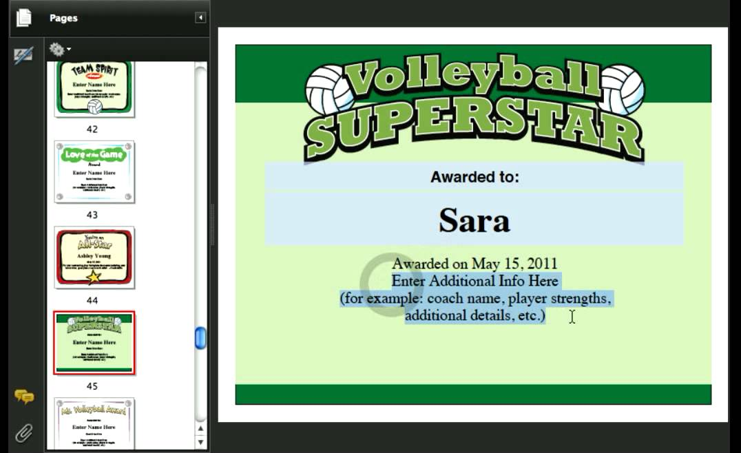 Softball Certificates, Volleyball, Dance, Ballet, Cheerleading - Award Maker