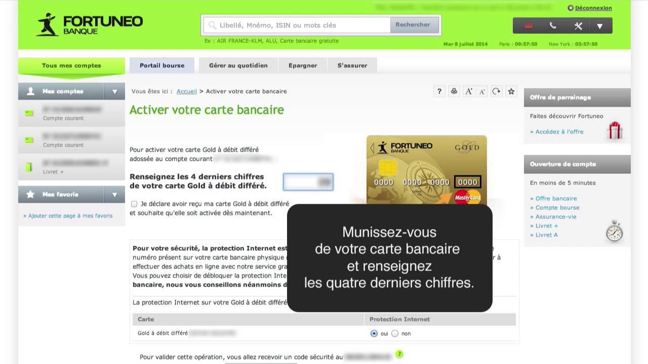 comment activer une carte bancaire Activer la carte bancaire   Fortuneo   YouTube