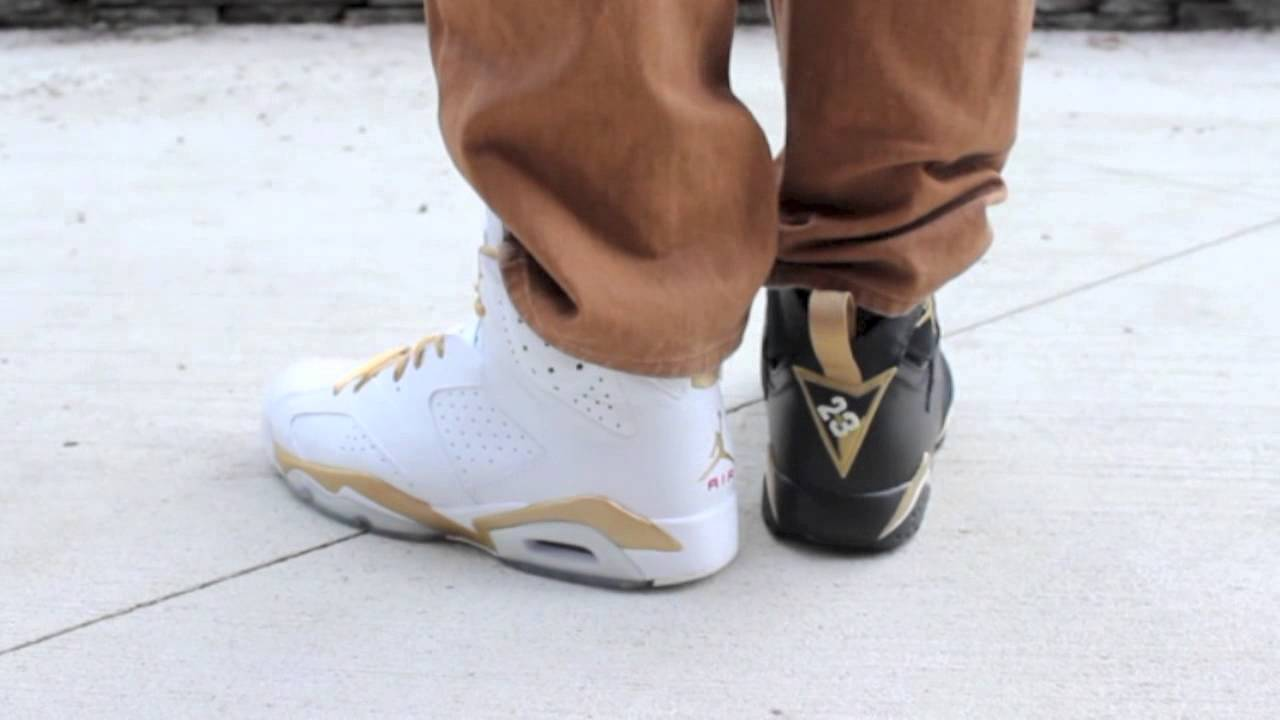 newest 9bfe6 93f27 GMP Gold Medal Pack Jordan 6 and 7 On Feet - YouTube