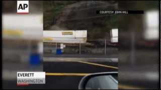 Raw: Wash. Mudslide Derails Freight Train