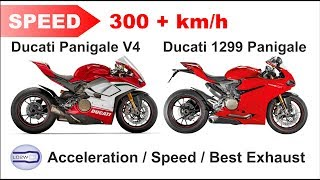 2018 Ducati PANIGALE V4 vs Ducati 1299S Panigale / Acceleration, Top Speed 300+ km/h, Ride, Exhaust