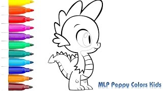 Coloring Book Spike MLP | How to Draw Spike MLP | Art Colors for Kids with Peppy Colors Kids