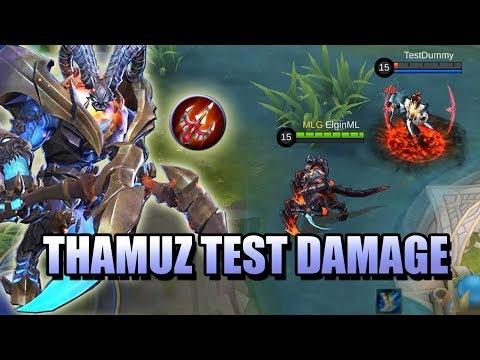 THAMUZ DAMAGE TEST - BATTLE TANPA AKHIR ADA INTI ITEM MOBILE LEGENDS