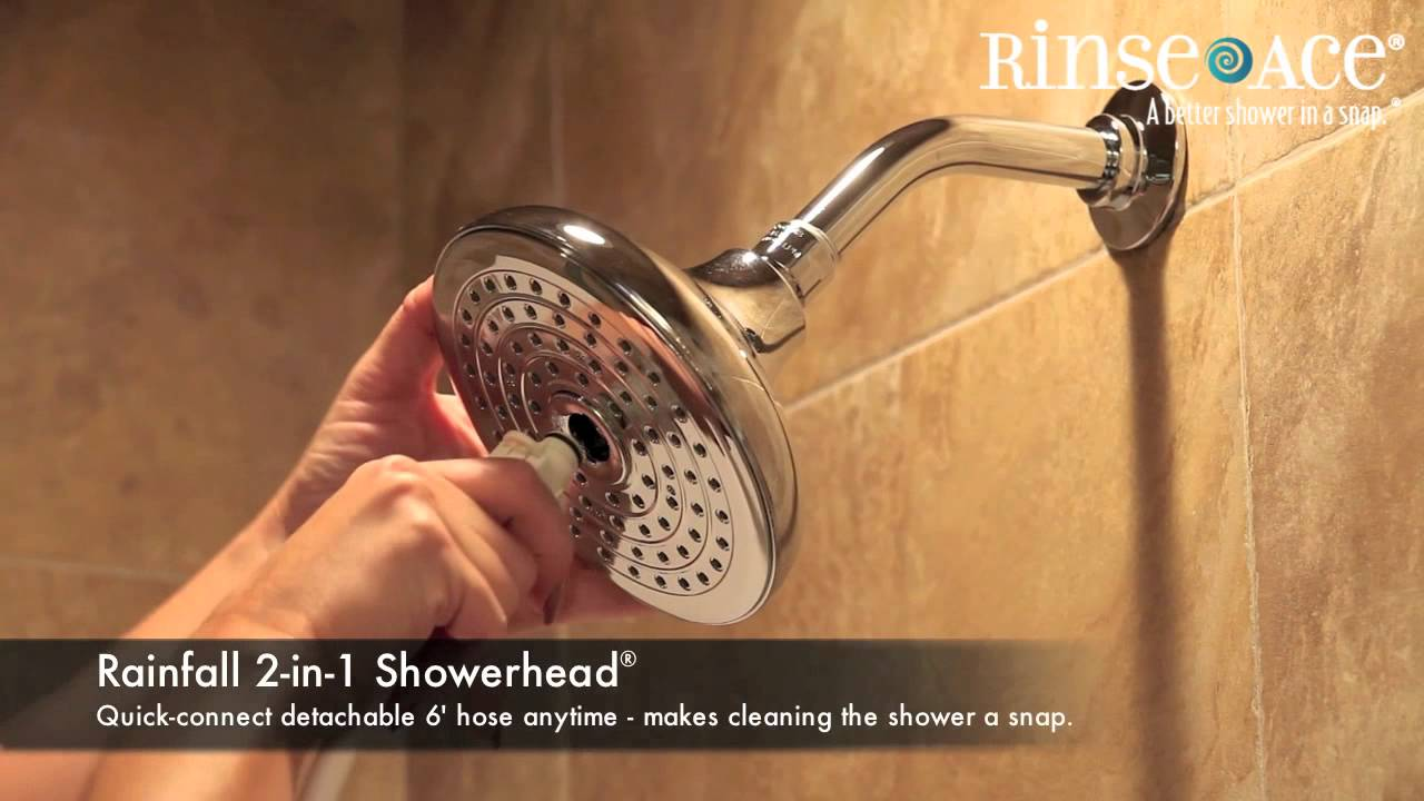 Rinse Ace® Rainfall 2 In 1 Showerhead® For Invigorating Showers And Hotel  Shower U0026 Bath Cleaning