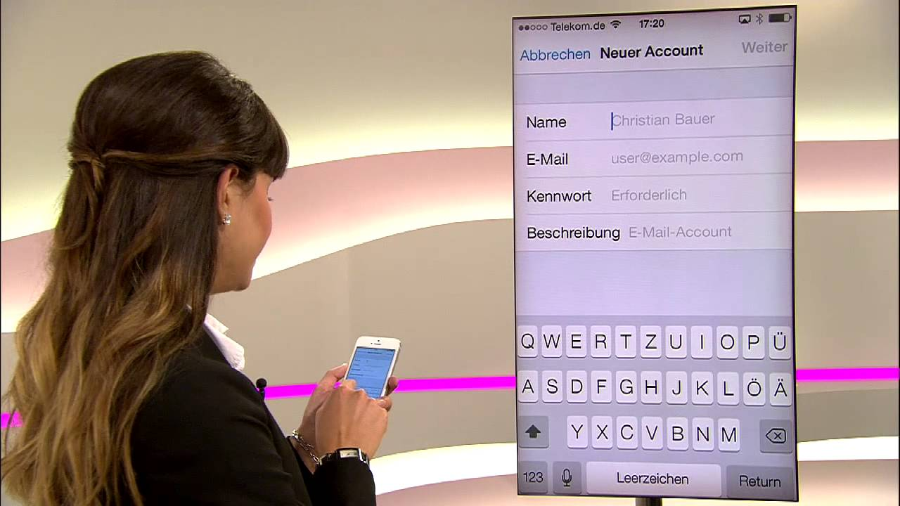 telekom e mail t online auf dem iphone einrichten youtube. Black Bedroom Furniture Sets. Home Design Ideas