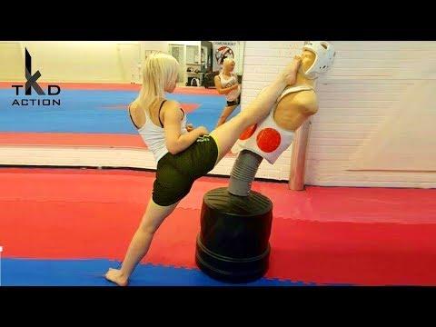 Taekwondo Girls Bob Kicking - TKD Girls Kicks Training On BOB
