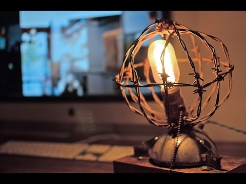 Cool Barbed Wire Reclaimed Wood Desk Lamp - YouTube