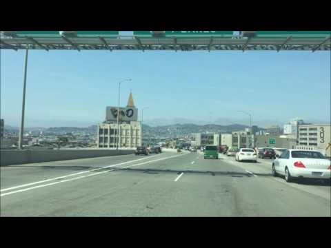 Driving on Oakland Bay Bridge to San Francisco Airport with