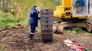 Выпрессовщик пальцев для замены гусеничной цепи экскаватора