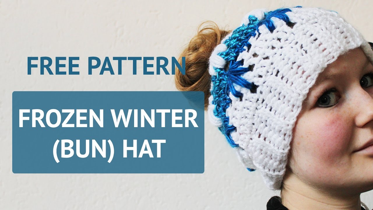 Free Crochet Pattern Frozen Winter Bun Hat Youtube