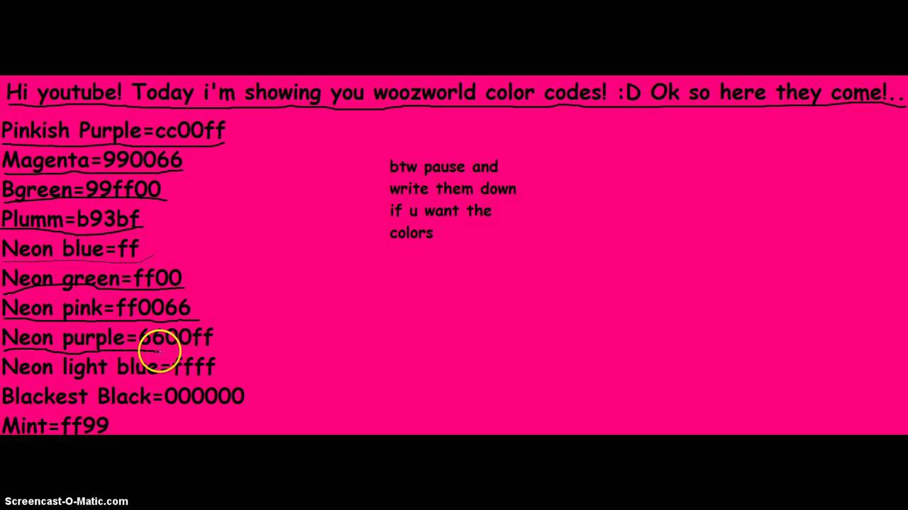 woozworld color codes youtube