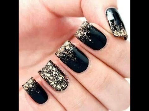 Gold Black Nail art designs - Gold Black Nail Art Designs - YouTube