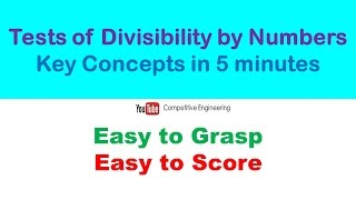 Tests of Divisibility by Numbers|Shortcut Methods for GATE,CAT,BANK PO,Aptitude Exams