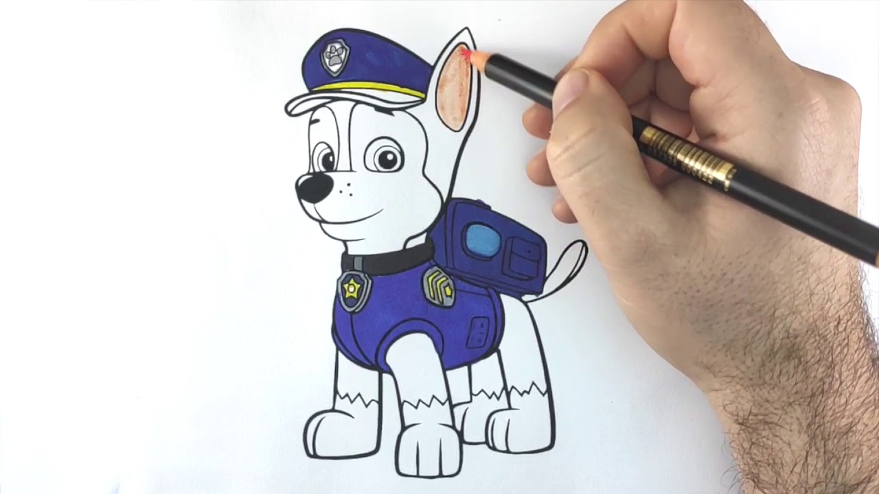 Paw Patrol Painting Step By Step Coloring Chase Drawforkids