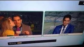 مشجعة برازيلية تقبل مراسل قناة بي إن سبورت على الهواء مباشرة