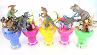Learning Dinosaurs and color with slim, Schleich toys play | Learn Names Sounds Dinosaurs Toys. 공룡
