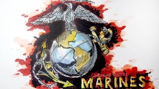Military Series:  United States Marine Corps (USMC) Time Lapse Drawing