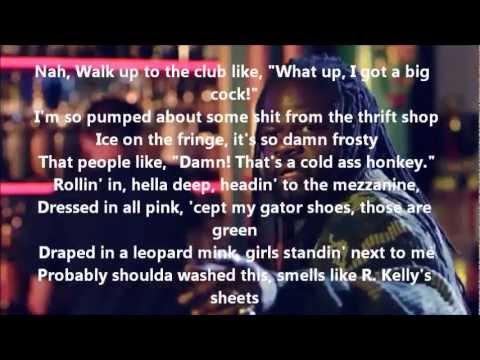 lyrics thrift shop by macklemore co with video lyrics on scree