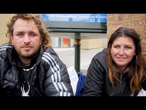 Gino and Erica are homeless in Los Angeles sleeping on Hollywood Blvd.