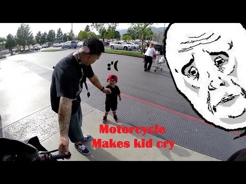 Motorcycle Makes Kid Cry :'(