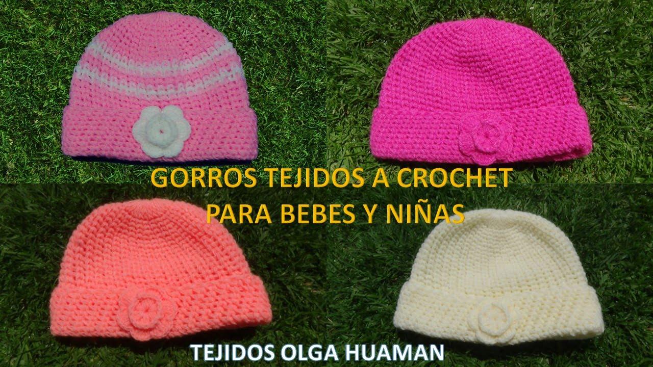 Gorros tejidos a crochet con flor en medio punto para bebes y niñas paso a  paso - YouTube cc36dea424b