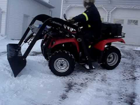 Atv Quad Loader In Action Snow Removal Youtube