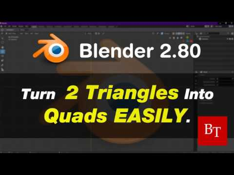 Blender 2.80 Tutorial - Turn 2 Triangles Into Quads Easily.