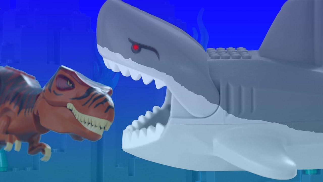 Lego Megalodon vs T-Rex FIGHT - Stop Motion Movie - YouTube