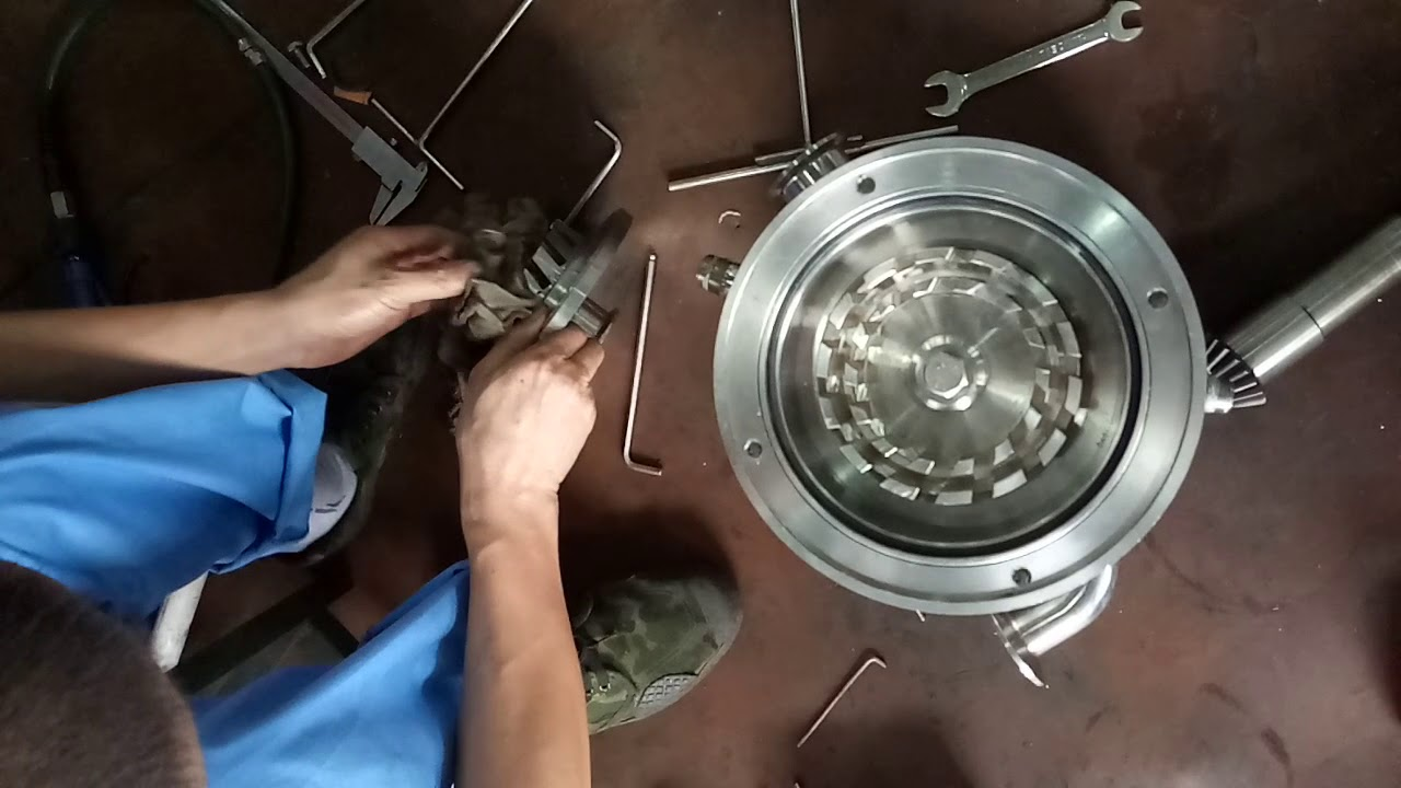 Disassemble and assemble three stage inline emulsifier homogenizer