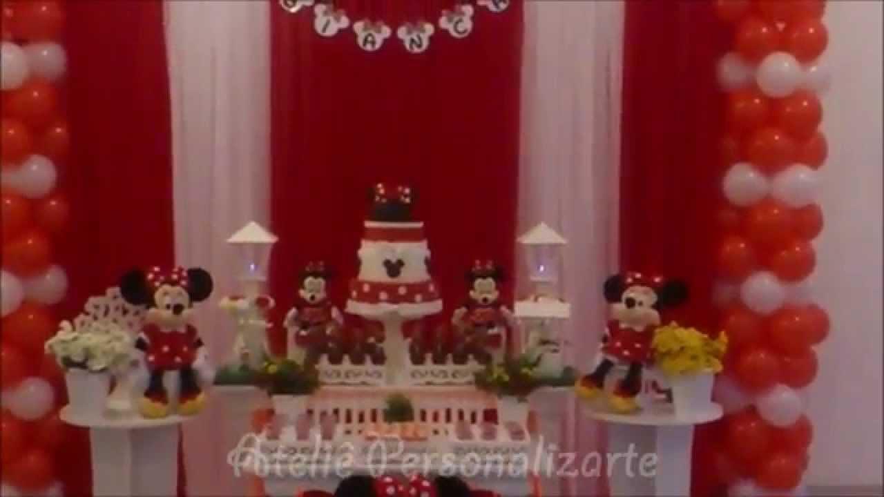 Decoração Youtube ~ Decoraç u00e3o de festa infantil Minnie Vermelha YouTube