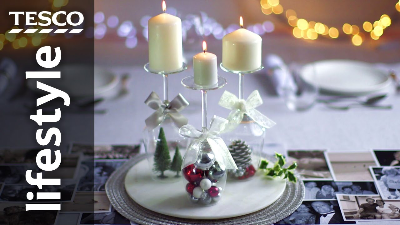 How to create a wine glass candle holder for christmas for How to make christmas candle holders