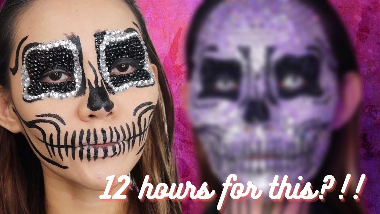 How to do Creative Makeup | Rhinestone Skull Makeup Tutorial 2021 | Aivee Kate