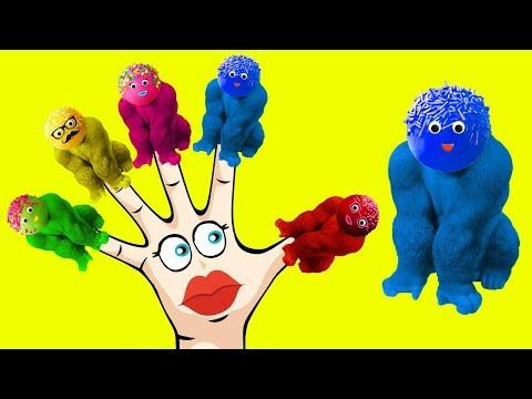 Gorilla Cake Pops Learning Colors Finger Family Nursery Rhymes | Blasting Balloons
