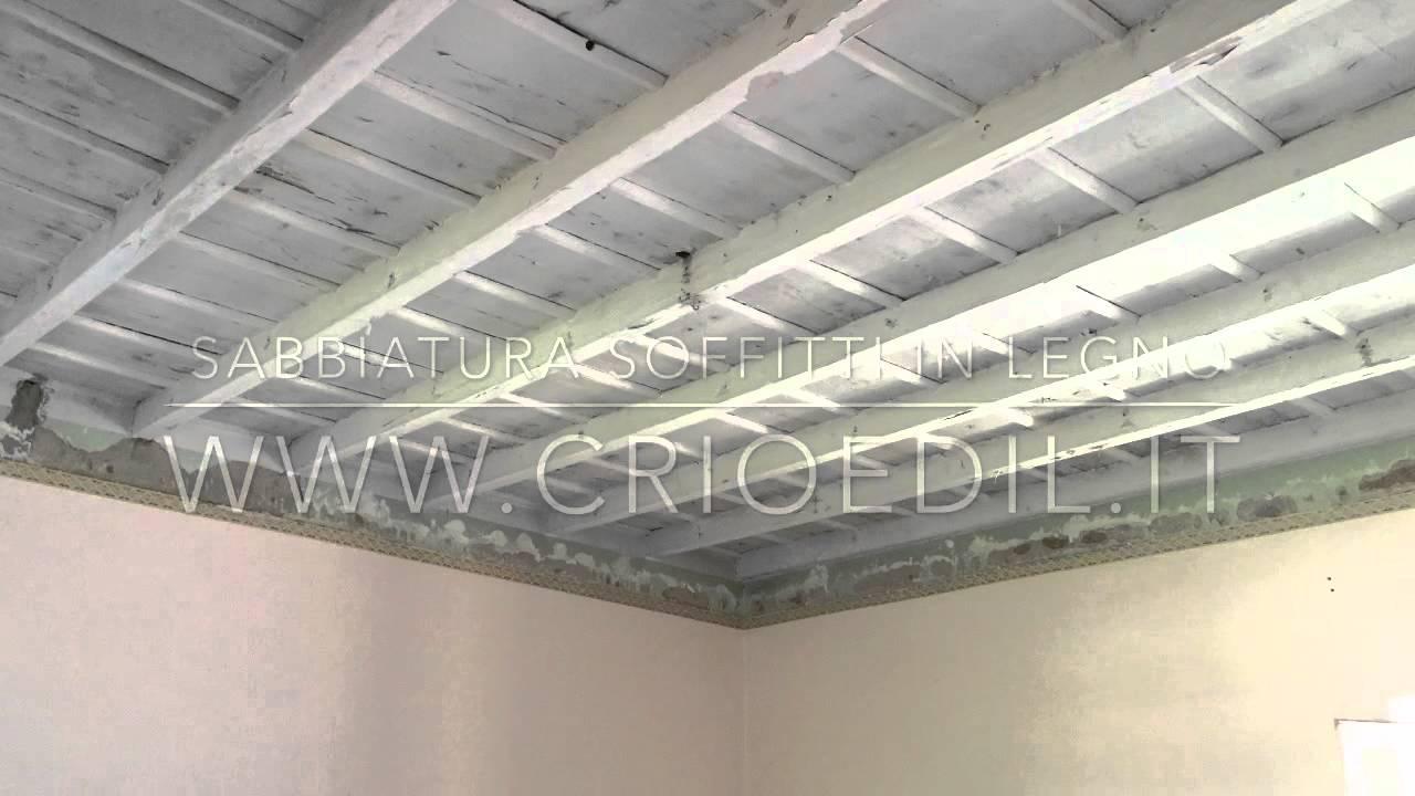 Soffitti In Legno Bianco : Sabbiatura soffitto e velatura bianco youtube