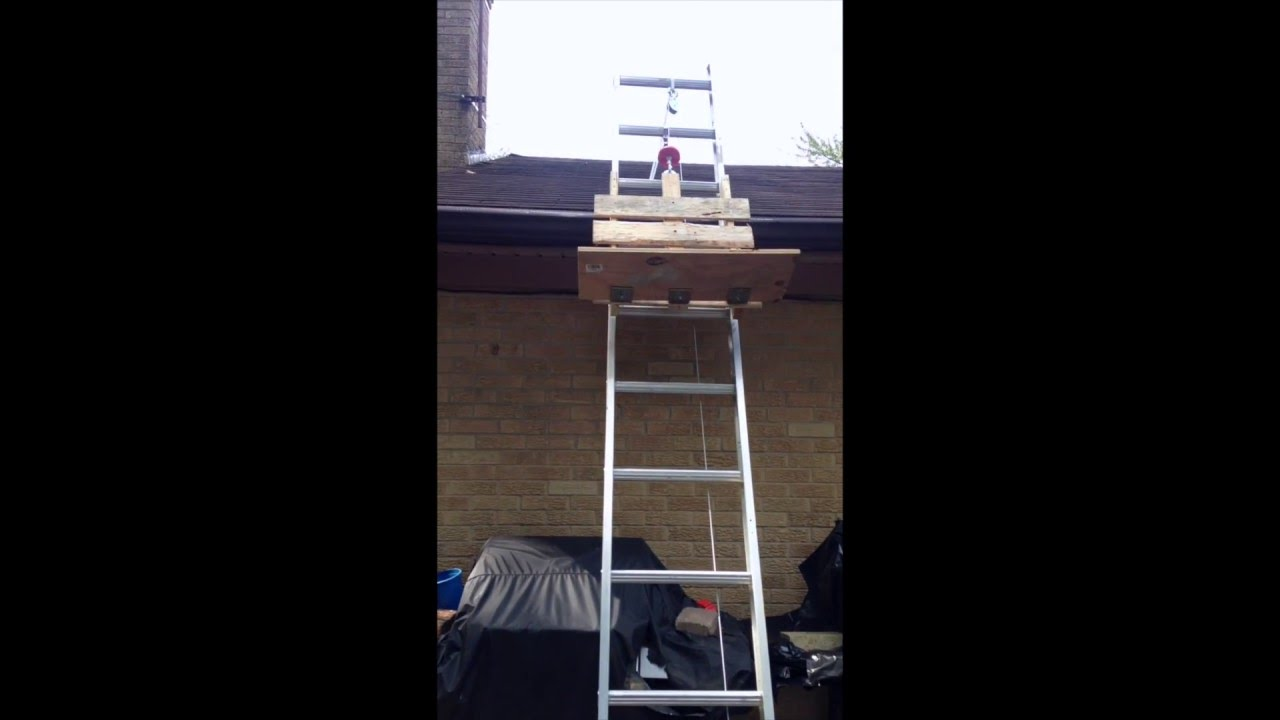 Roofing Shingle Lift Hoist Elevator Diy Homemade Youtube