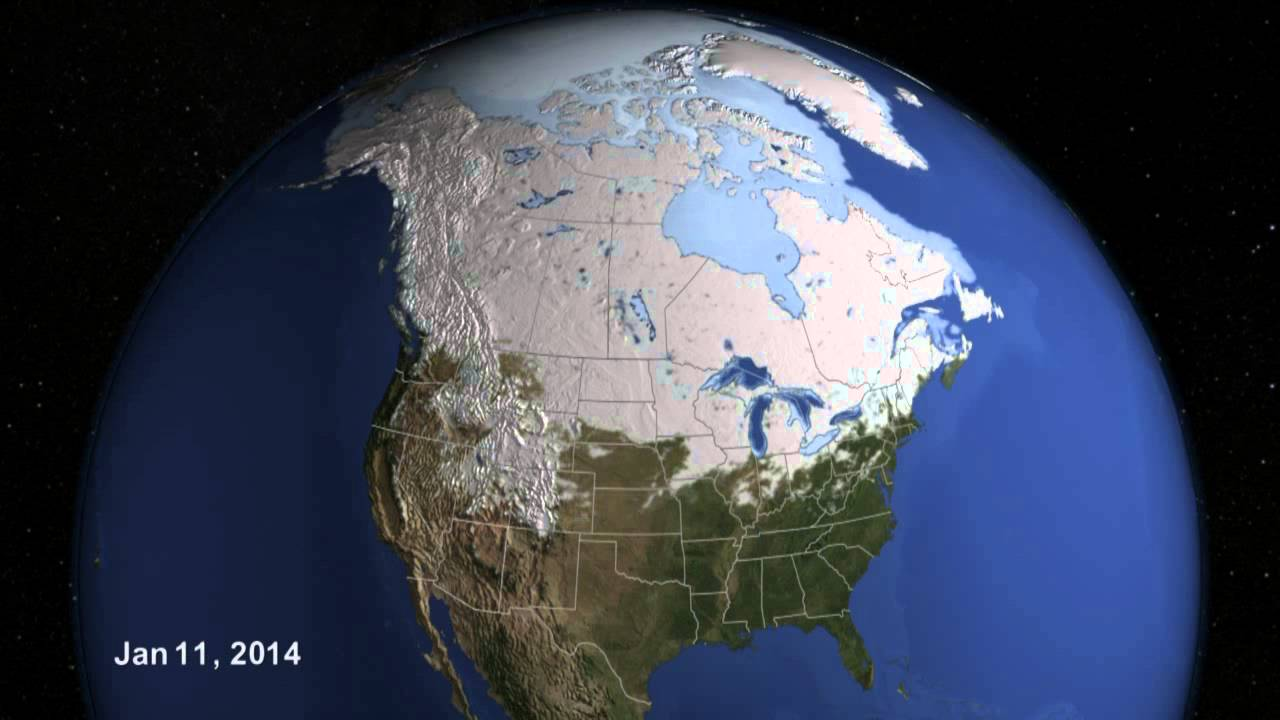 US Snow Cover Time Lapse Winter 2013 to 2014 YouTube